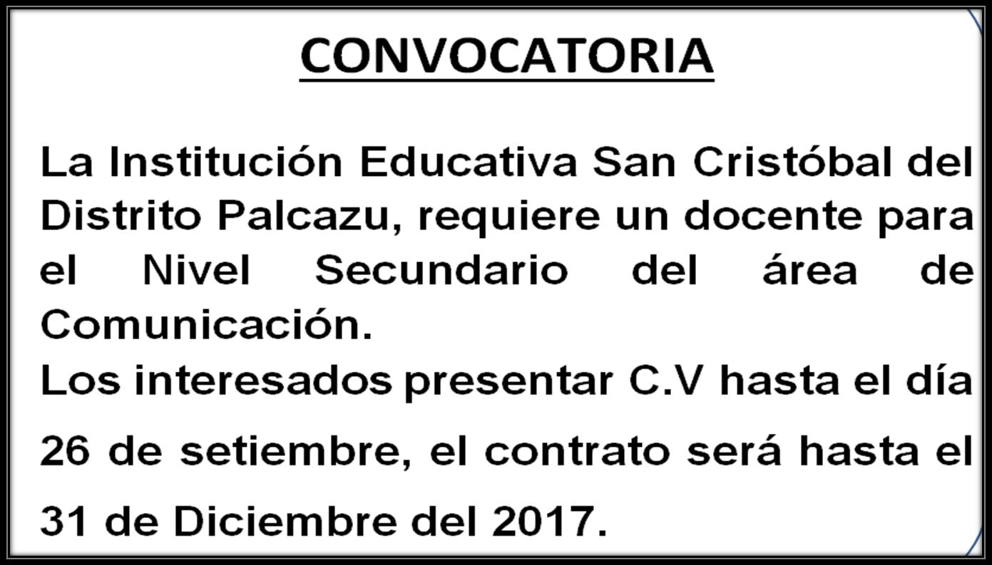 Convocatorias unidad ejecutiva local oxapampa for Convocatoria de plazas docentes 2017